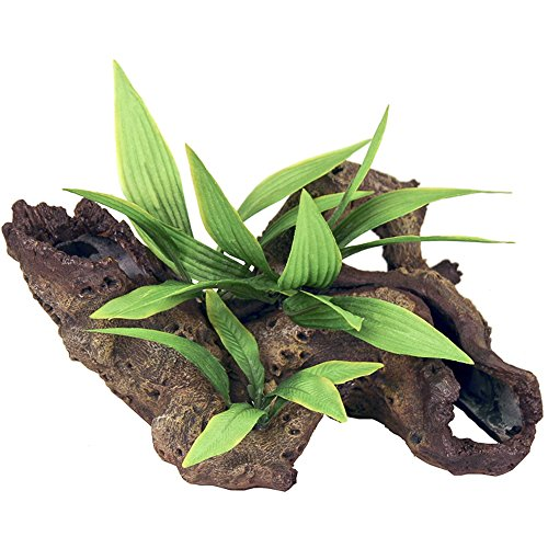 (Exotic Environments Mopani Wood with Silk Style Plants Aquarium Ornament, Small)