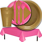 Plastic Party Supplies for 50 Guests - Gold and Hot Pink - Dinner Plates, Dessert Plates, Cups, Lunch Napkins, Cutlery, and Tablecloths - Premium Quality Tableware Set