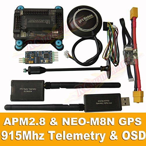 Hobbypower APM2.8 Flight Controller + NEO-M8N GPS, 3DR 915Mhz Telemetry, OSD, Power Module