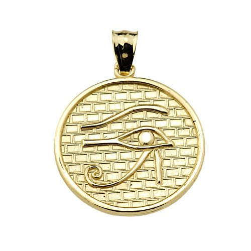 Eye of Horus (13 Steps) Yellow Gold Round Charm Pendant Necklace