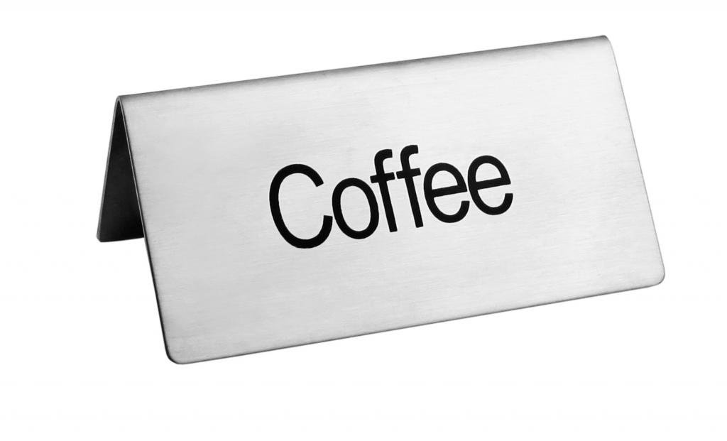 New Star Foodservice 27259 Stainless Steel Table Tent Sign, ''Coffee'', 3-Inch by 1-1/2-Inch, Set of 6