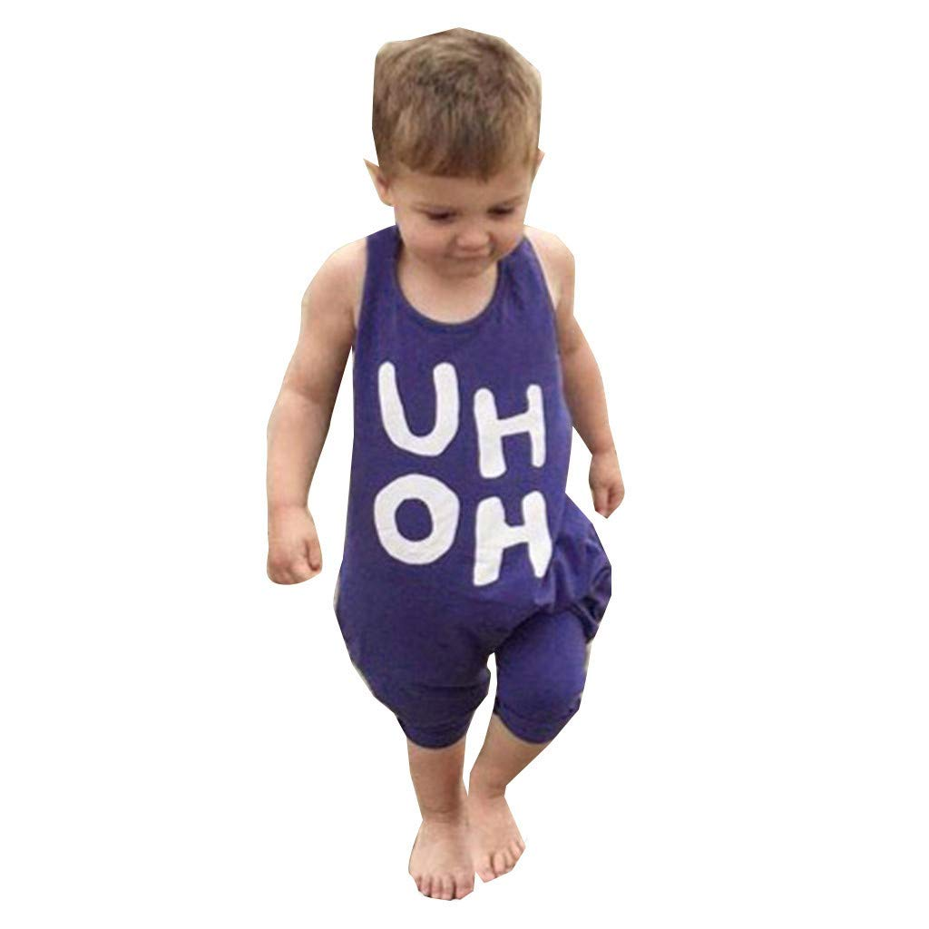 RoDeke Newborn Summer Toddler Baby Girl Boy Outfit Clothes Sleeveless Letter Uh Oh Print Backless Jumpsuit Romper 6M-6T