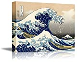 "Wall26 Canvas Print Wall Art - The Great Wave Off Kanagawa by Katsushika Hokusai Reproduction on Canvas Stretched Gallery Wrap. Ready to Hang -18""x24"""