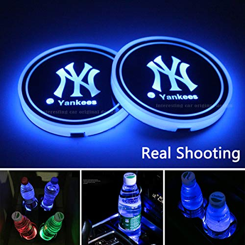 2pcs LED New York Yankees Logo Cup Holder Lights, 7 Colors Changing USB Charging Mat Luminescent Cup Pad, LED Interior Atmosphere Lamp