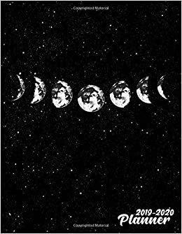 2019-2020 Planner: Black & White Phases of The Moon Galaxy ...