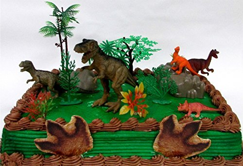Prehistoric T-Rex DINOSAUR 12 Piece Birthday CAKE Topper Set Featuring a T-Rex and 4 Random Dinosaur Figures, Themed Decorative Accessories, Dinosaurs Average 1/2'' to 4'' Inches Tall by Cake Topper