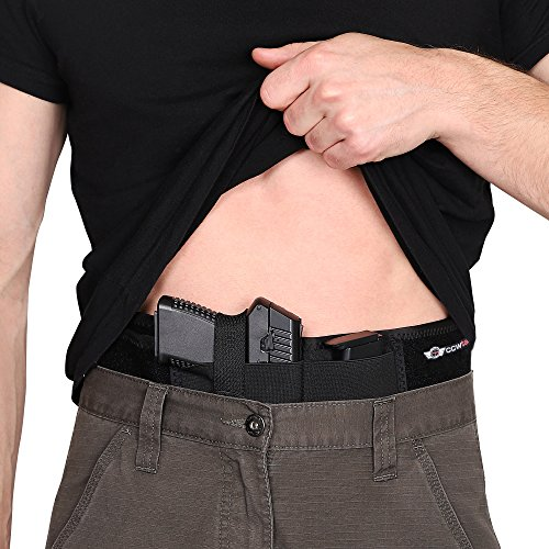 CCW Tactical IWB Belly Band Holster Concealed Carry Multiple Positions, Ultimate Comfort Handgun Holder with Spare Mag Pouch, Fastest Draw Speed, Men and Women, Pistols and Revolvers, XL ()