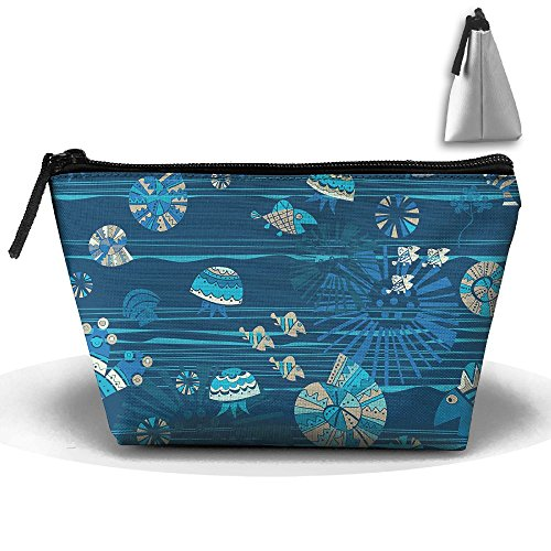 Ocaen Fish New Cosmetic Bags For Home Travel Makeup Bags With Zipper Large Capacity Jewelry Pouch -