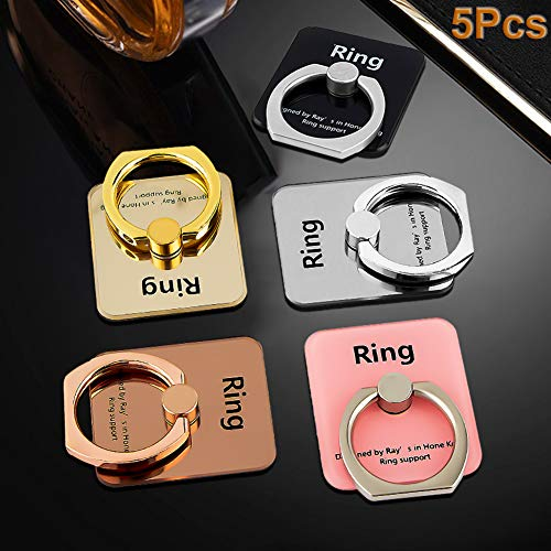 Phone Ring Stand Holder, 5-Pack 360 Degree Rotation Cell Phone Finger Ring Phone Ring Grip Bracket Mount Compatible with Smartphones and Tablets