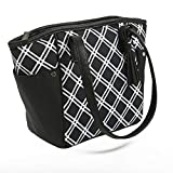 Rachael Ray Monroe Lunch Tote, Stylish Insulated Tote Bag and Meal Carrier, Black Bias Plaid