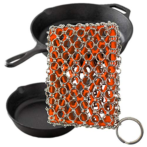 Cast Iron Skillet Cleaner Brush,Premium 316L Stainless Steel Chainmail Cleaning Scrubber Set with Silicone Insert,Kitchen Brush for Sink,Pot, Pan, Pre-Seasoned Pan,Dutch Ovens Waffle Pans Scraper