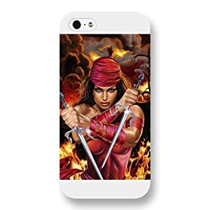 UniqueBox Customized Marvel Series Case for iPhone 5 5S, Marvel Comic Hero Elektra iPhone 5 5S Case, Only Fit for Apple iPhone 5 5S (White Frosted Case)