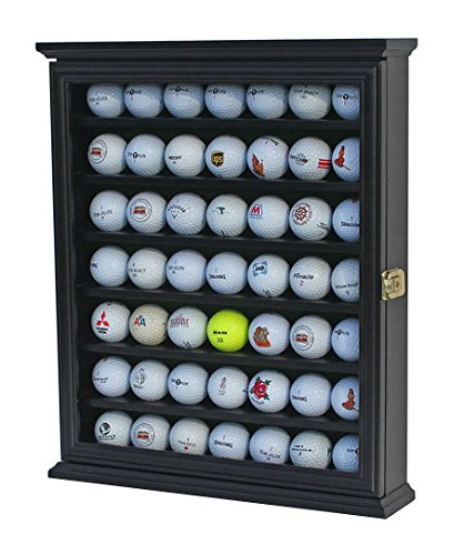 49 Golf Ball Display Case Cabinet Wall Rack Holder w/98% UV Protection Lockable GB49-BL