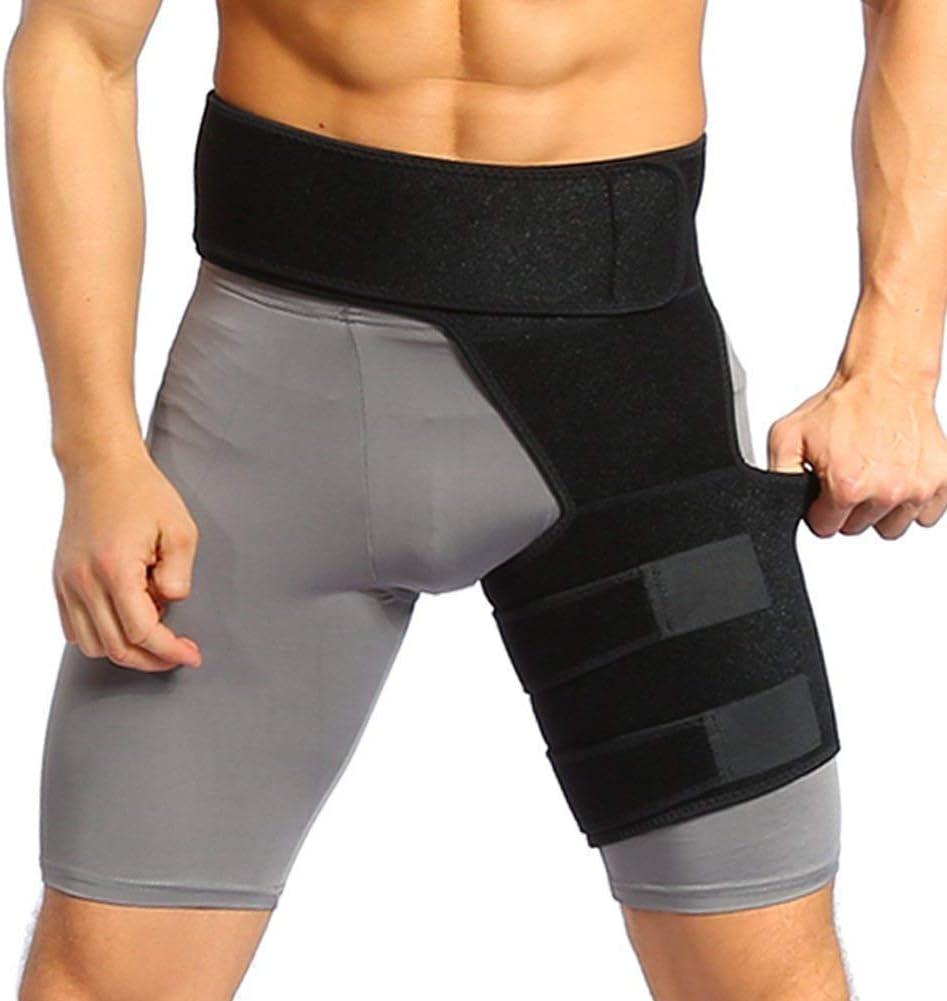 Sujeción para el suelo y la cadera para mujeres y hombres, envoltura de compresión ajustable para aliviar el dolor de muslo de tirar Recuperación para lesiones en la articulación de la cadera