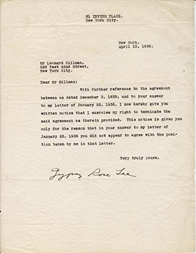 Gypsy Rose Lee – Typed Letter Signed 04/13/1936