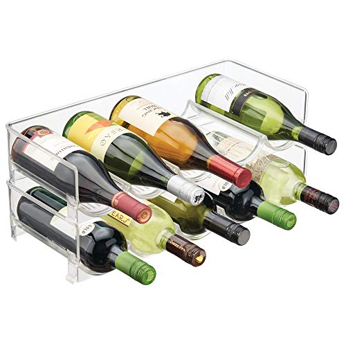 mDesign Plastic Free-Standing Water Bottle and Wine Rack Storage Organizer for Kitchen Countertops, Table Top, Pantry, Fridge - Stackable - Holds 5 Bottles Each, 2 Pack - ()