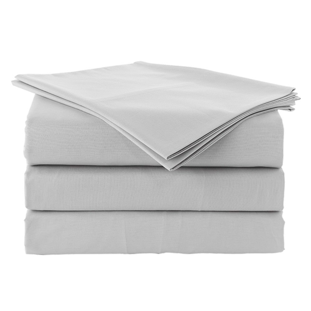Rajlinen Ultra Soft Cozy 100% Percale Cotton 4 PCs Bed Sheet Set - 400 Thread Count 15 inch Deep Pocket - Extremely Smooth Stronger Durable Quality Bedding (Light Grey Solid,Three Quarter 48X75)