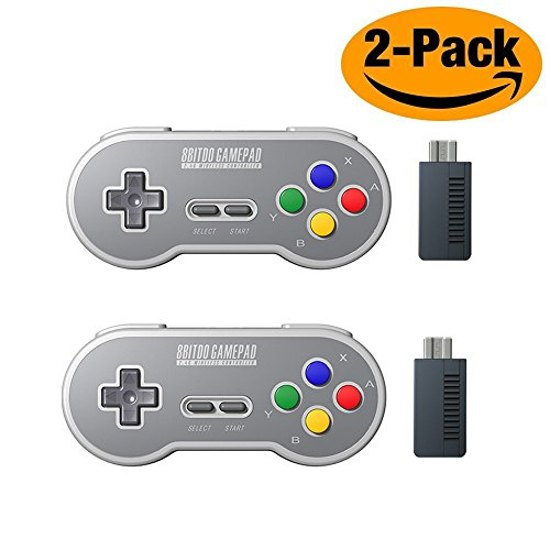 HIOTECH Wireless Controller 2.4GHz Wireless 8Bitdo SN30 Classic Video Game Joystick Gamepad for Super NES / SFC / SNES Classic Edition (2 Pack)(Color))