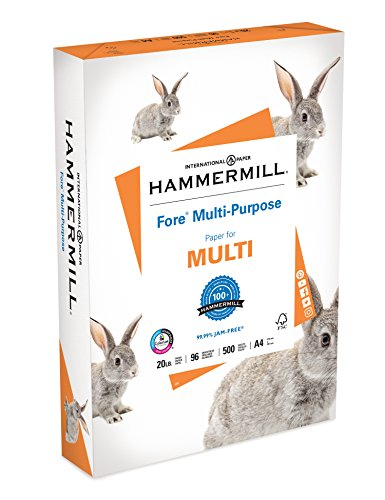Hammermill Paper, Fore Multipurpose Paper, A4 Paper, 210mm x 297mm, 20lb Paper, 96 Bright, 1 Ream / 500 Sheets (103036R) Acid Free Paper