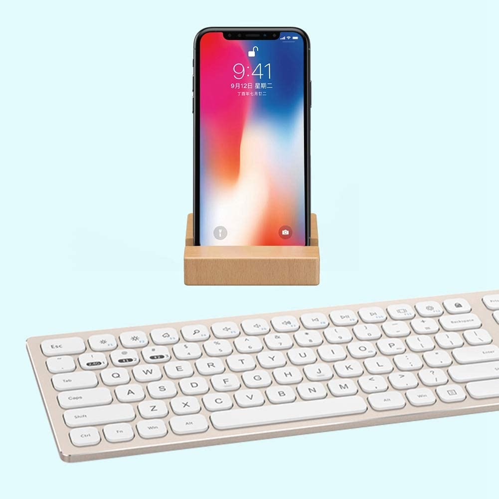 Wireless Keyboard Equipped with Wooden Holder Computer Keyboard Pure Metal Case Keyboard Silver 2.4G Dual Mode Bluetooth Aluminum Alloy Case Keyboard