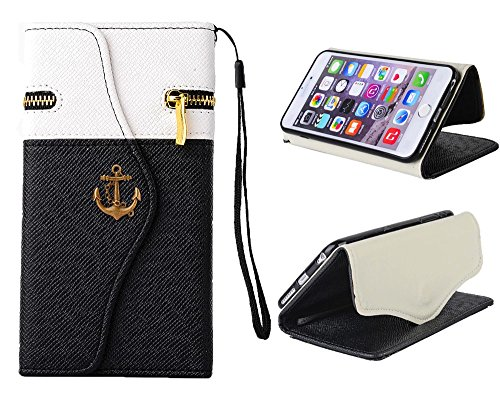 iPhone 6 (4.7-inch) Case, Welity White/Black Color Zipper Purse with Pirate Hook Wallet Leather Case Cover With Credit Card Slots & Money Holders for Apple iPhone 6 4.7-inch and one gift