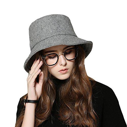 kekolin Female style hat Wool Felt Bucket Hat Winter Fall - Felt Bucket