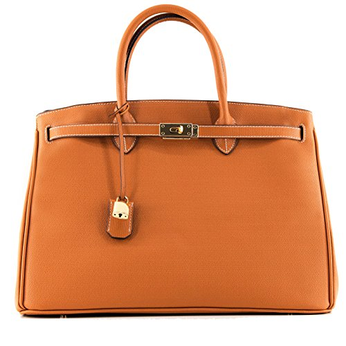 Rouven Cognac Brun Marron Brown & Gold ICONE CITY 40 LUX BOX Sac fourre-tout sac en cuir dames Sac cartable noble chic et moderne minimaliste (40x28x19cm)