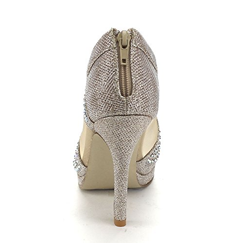 Bonnibel Leah-2 Womens Peep Toe Glitter Mesh Back Zip Dress Sandals Champagne u859fbQk