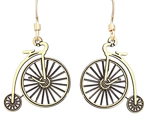 Sienna Sky Hypo-Allergenic Hand Painted Vintage Bicycle Silver Plated French Hook Ear Wire Earrings (Antique Style 'Velocipede' Bicycle) ƒ