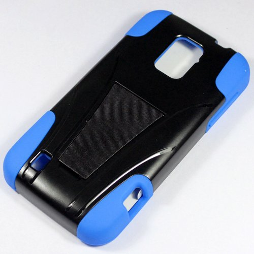 Saapni ZTE Rapido LTE Z932L (Straight Talk) – HYBRID PC/SC Combo Case w/ Kickstand – Blue HYB