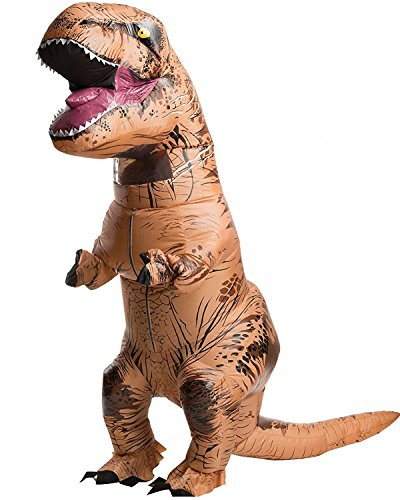 Halloween Inflatable T-Rex Dinosaur Blow Up Dress Up Funny Simulation Luxury Cosplay Costume Suit (Adult size, Brown)
