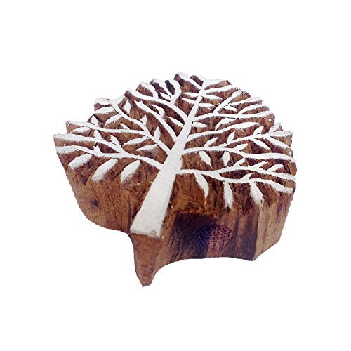Chestnut Tree Wooden Printing Stamp - DIY Henna Fabric Textile Paper Clay Pottery Block Printing Stamp ()