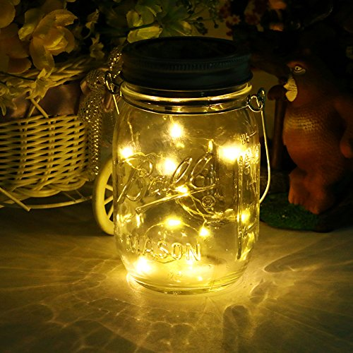 Solar Mason Jar Light ,LED Solar Powered Glass Light, Decorative Outdoor Hanging Lamp ,String Fairy Lantern Warm White 10 LED for Party Garden Wedding (Led Mason Jar Lights)
