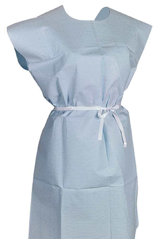 Patient Exam Gowns. Pack of 50 Adult Disposable Gowns 30 x 42. Blue Patient Gowns with Short sleeves and Waist Belt. Non-sterile examination gowns. One size.