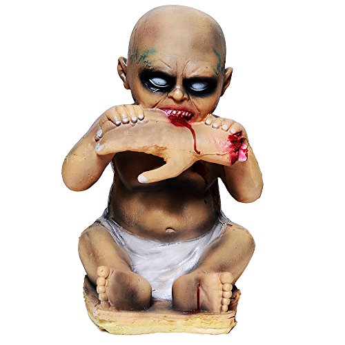 Halloween Decorations Evil Baby Zombie Baby Haunted Doll Halloween Toy, Latex, Clear Face, Vivid Look, Halloween Party Assessory, Halloween Props (Boy Eating Hand)