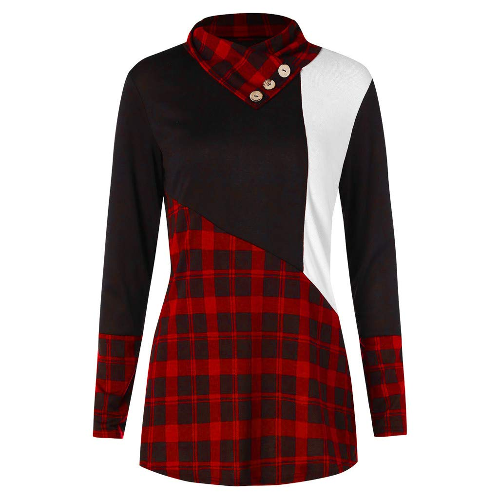 Women Long Sleeve Sweatshirt Casual Plaid Patchwork Button Turtleneck Tartan Long Sleeve Pullover Tops Loose Blouse Tunic