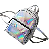 Ecurson Women Fashion Holographic Shinning Leather Backpacks Schoolbags Travel Shopping Backpack Shoulder Bag (Silver)