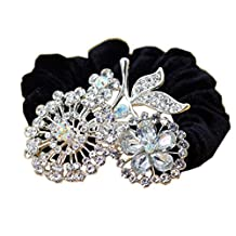[3 Pcs] Stylish Wedding Hair Accessories Rhinestone Ponytail Holders Hair Ties, H
