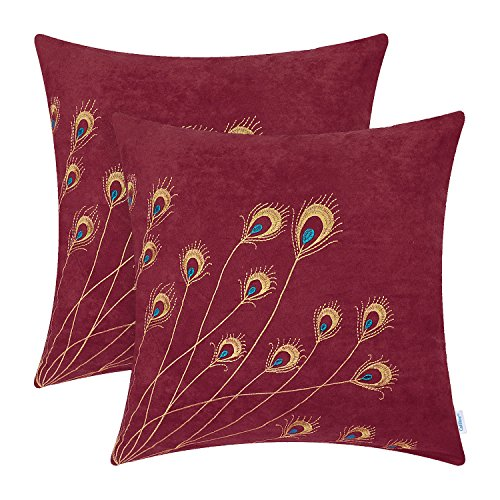 CaliTime Pack of 2 Supersoft Throw Pillow Covers Cases for Couch Bed Sofa Decor Peacock Feathers Embroidered 18 X 18 Inches Dark Red