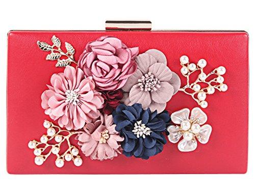 BLOOMSTAR de la mujer satén de flores de la noche bolso perla bolso de perlas de la cena de color rosa Rojo