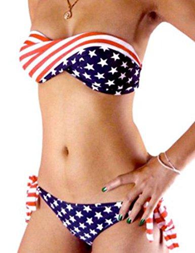 Bandera Americana diplococo BIKINI con rayas finas y STAR escritos - talla XS