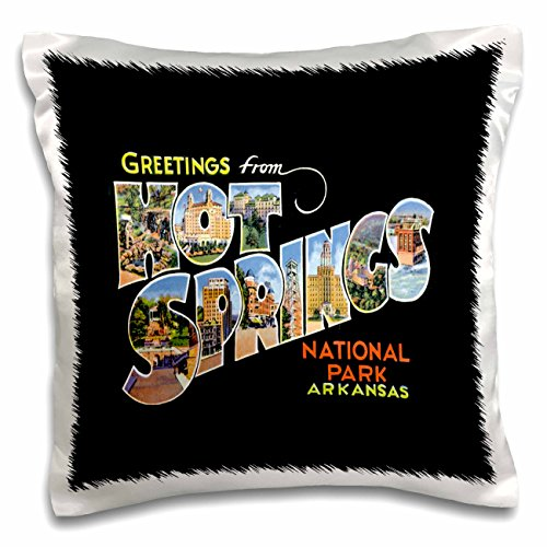 BLN Vintage US Cities and States Postcards - Greetings From Hot Springs National Park Arkansas Bold Scenic Lettering on Black Background - 16x16 inch Pillow Case (Postcard Hot Springs National Park)