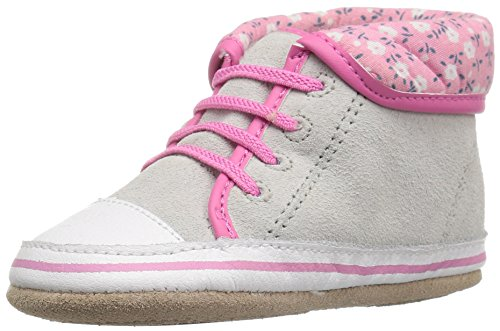 Robeez Girls' Floral Flora Sneaker, Floral Flora Grey, 3-6 Months M US Infant