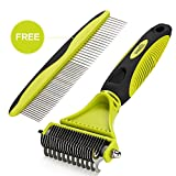 Dematting Comb Grooming Tool Kit for Dog & Cat Double Sided Blade Rake Comb with Grooming Brush Loose Undercoat - Mats - Tangles and Knots Removal for Long Thick Short Pet