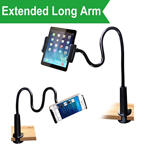 Cellphone & Tablet  2 in 1 Stand Holder Clip with Grip Flexible Long Arm Gooseneck Bracket Mount Clamp for iPad/iPhone X/8/7/6/6s Plus Samsung S8/S7, Used for Bed, Desktop, Kitchen and Office - Black