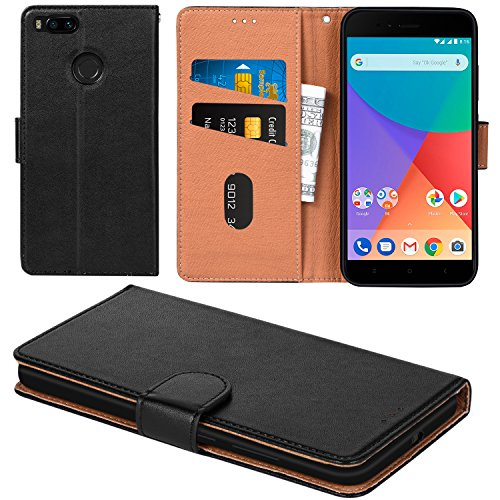 Xiaomi Mi A1 Case, Mi 5X Case, Aicoco Flip Cover Leather, Phone Wallet Case for Xiaomi Mi A1/Mi 5X - Black