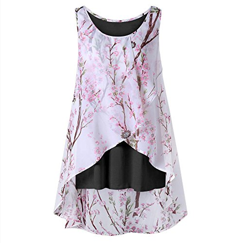 Layers Ladies Chiffon Silk Scarf - HIRIRI Women's Sleeveless Chiffon Tank Top Double Layers Casual Flowy Tunic Hi-Low Hem T-Shirt Blouse Black