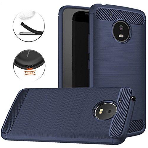 Moto E4 Plus Case, Dretal Carbon Fiber Shock Resistant Brushed Texture Soft TPU Phone case Anti-fingerprint Flexible Full-body Protective Cover For Motorola Moto E4 Plus USA Version (Navy)