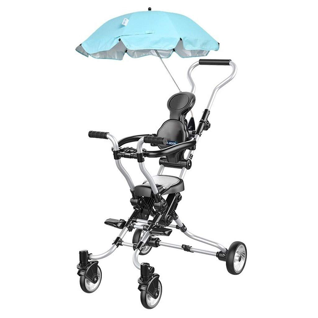 RJJX Home Baby Stroller Simple Stroller Two-Way Four-Wheel Shock Absorption Convenient Folding Stroller for 1-6 Years Old Baby Carriage Black by RJJX Home