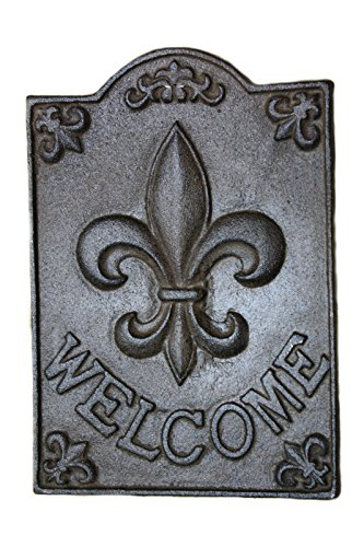 Starworld- Cast Iron Antique Style FLEUR DE LIS WELCOME Plaque Wall Mount Finial Garden Sign Home Decor (Size:8.5 x 6 inch ) Rust Brown Finish